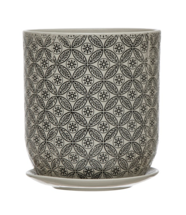 Creative Co-Op Hand-Stamped Stoneware Pot & Saucer w/ Embossed Pattern, Black & Cream Color