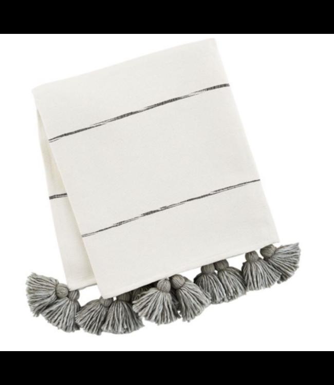 MudPie Gray Tassel Stripe Throw