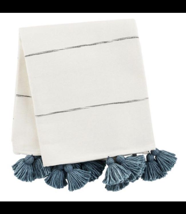 MudPie Blue Striped Tassel Throw