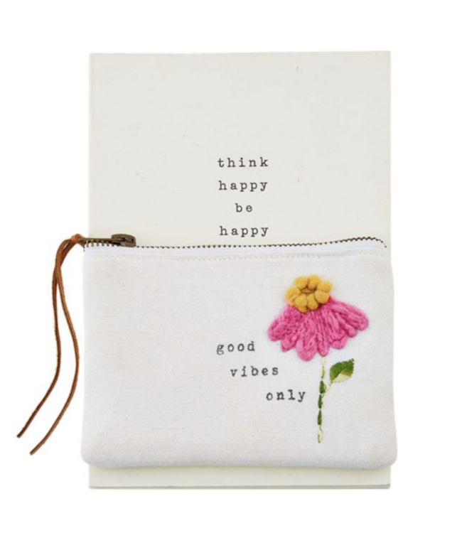 MudPie Good Vibes Only Notebook and Pouch Set
