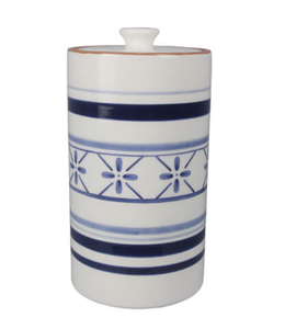 Youngs Ceramic Blue and White Cookie Jar with Knob on Lid