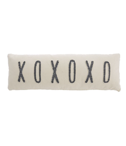 MudPie XOXOXO Washed Canvas Long Pillow