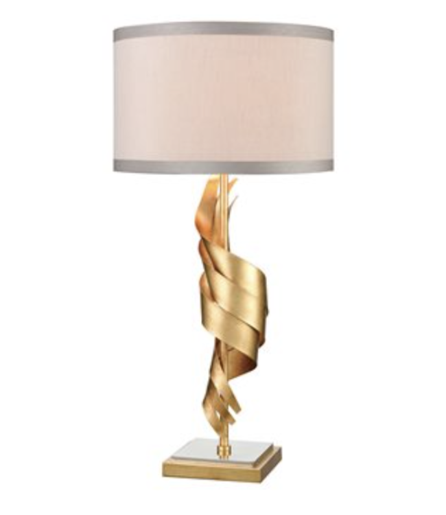 Elk Group International Shake It Off Table Lamp in Gold Leaf and Polished Nickel with a Light Taupe Faux Silk Shade