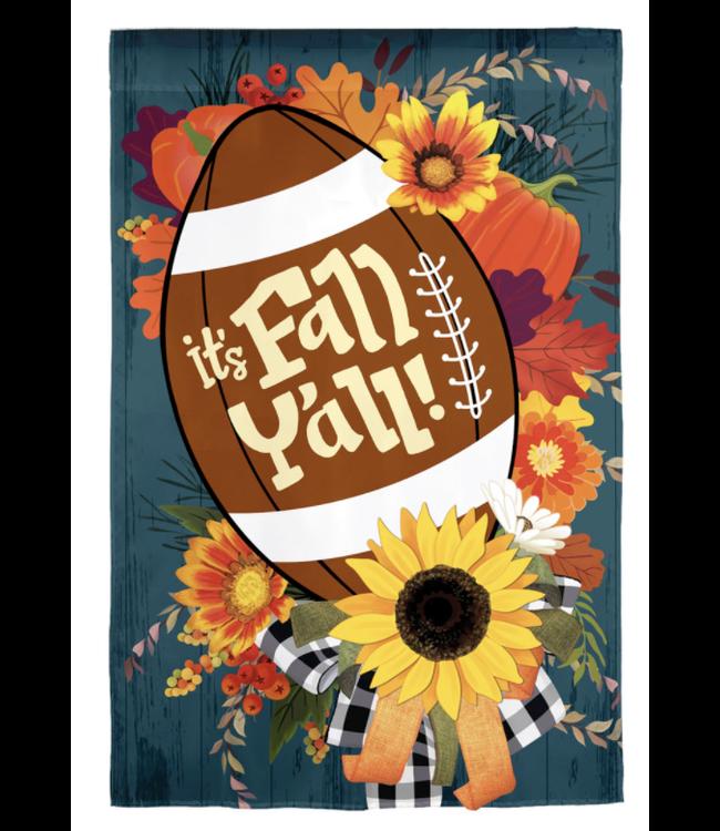Evergreen Fall Football Garden Burlap Flag
