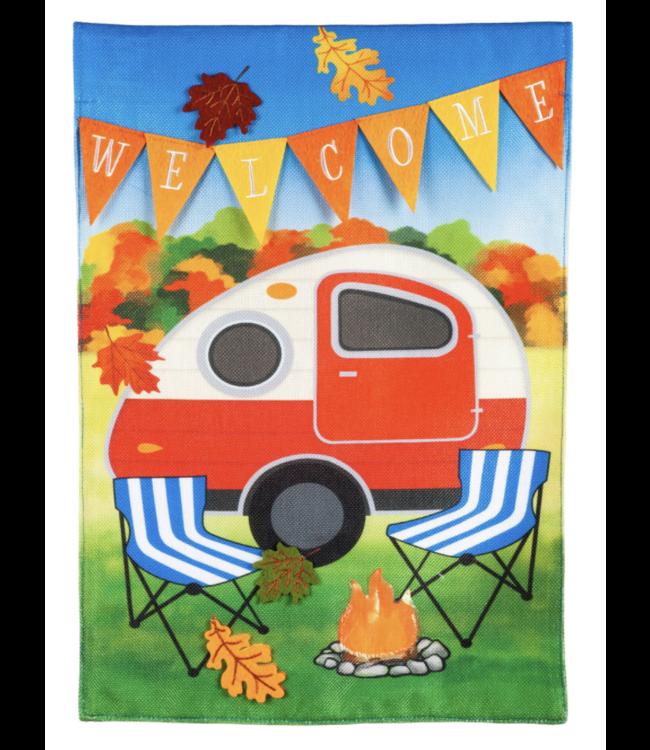 Evergreen Fall Camper Garden Burlap Flag