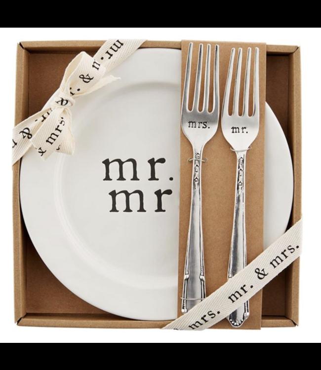 MudPie Mr. & Mrs. Cake Plate Set