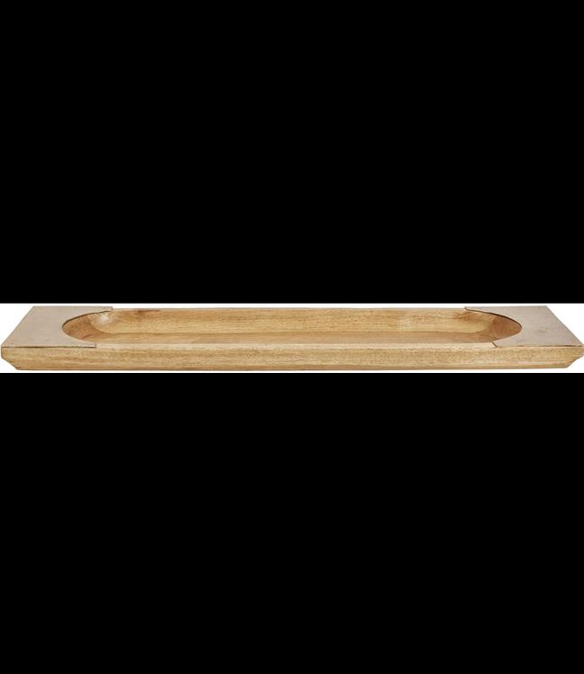 Creative Co-Op Mango Wood & Metal Tray, Natural & Nickel