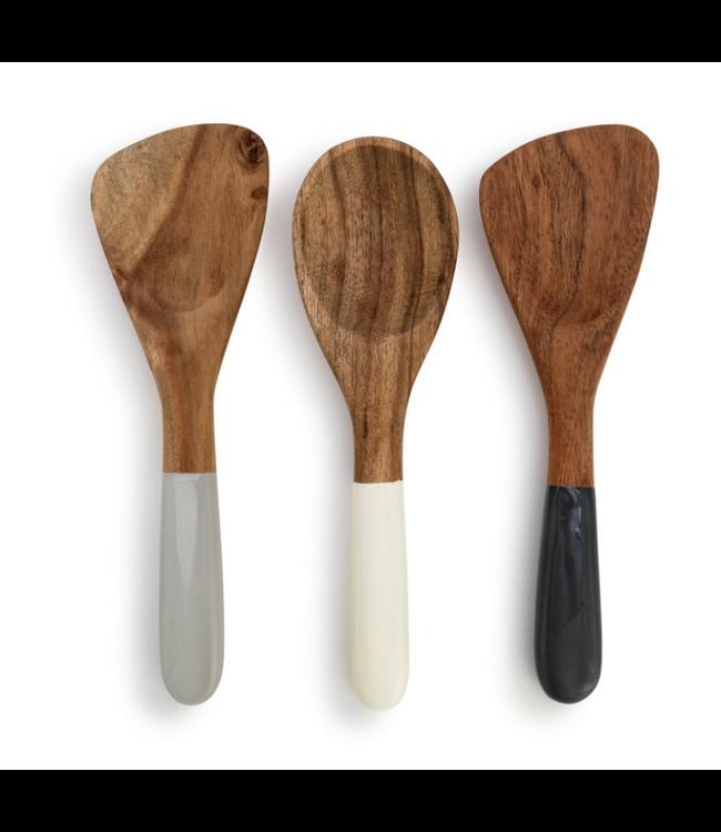 Demdaco Acacia Wood Appetizer Spoons - Set of 3