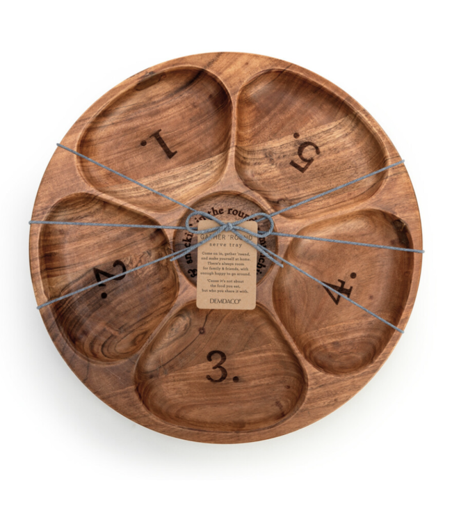 Demdaco Numbered Divided Wood Serving Tray