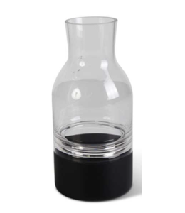 K&K Interiors Small Clear Glass Vase w/Black Bottom Tapered Neck and Centered Inla