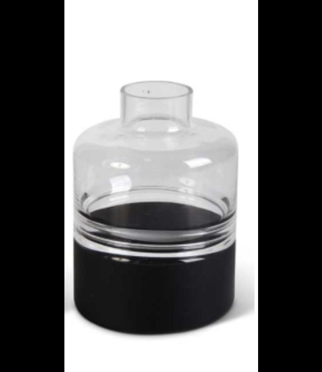 K&K Interiors Medium Clear Glass Vase w/Black Bottom Tapered Neck and Centered Inla