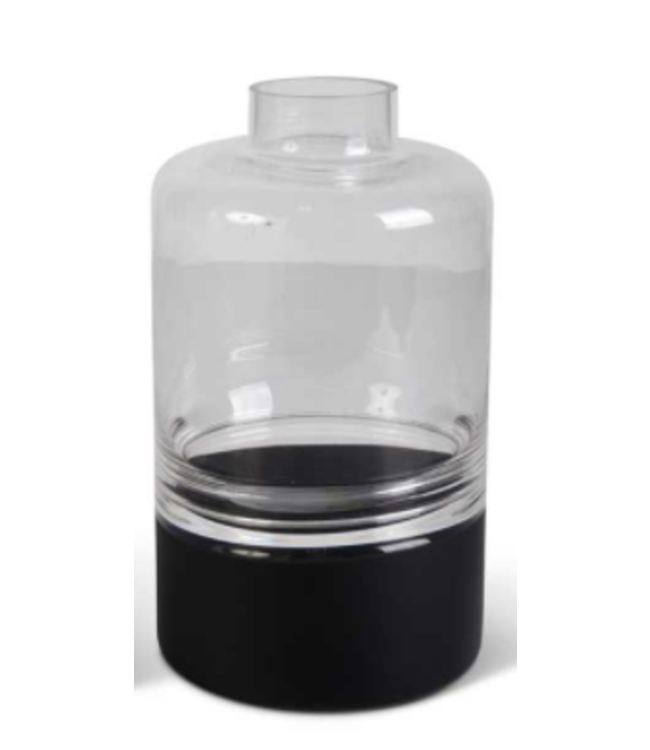 K&K Interiors Large Clear Glass Vase w/Black Bottom Tapered Neck and Centered Inla