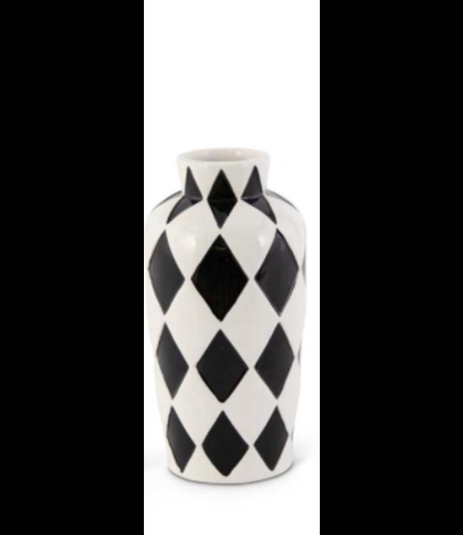K&K Interiors Black and White Harlequin Vase- Small