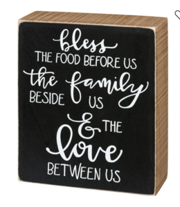 Primitives By Kathy Box Sign - Bless The Food The Family & The Love