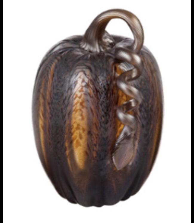 Evergreen Amber Blown Glass Pumpkin