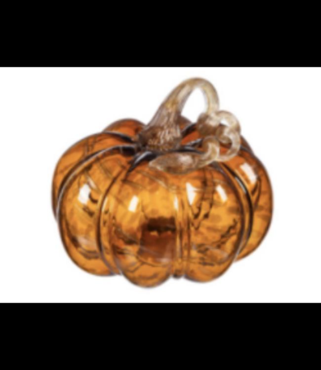 Evergreen Dark Amber Blown Glass Pumpkin