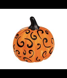 Evergreen Orange and Black Printed Ceramic Pumpkin