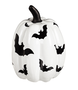 Evergreen Black and White Bat Pumpkin