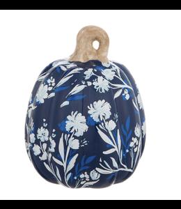 Evergreen Printed Ceramic Pumpkin Artisan Blue- Medium