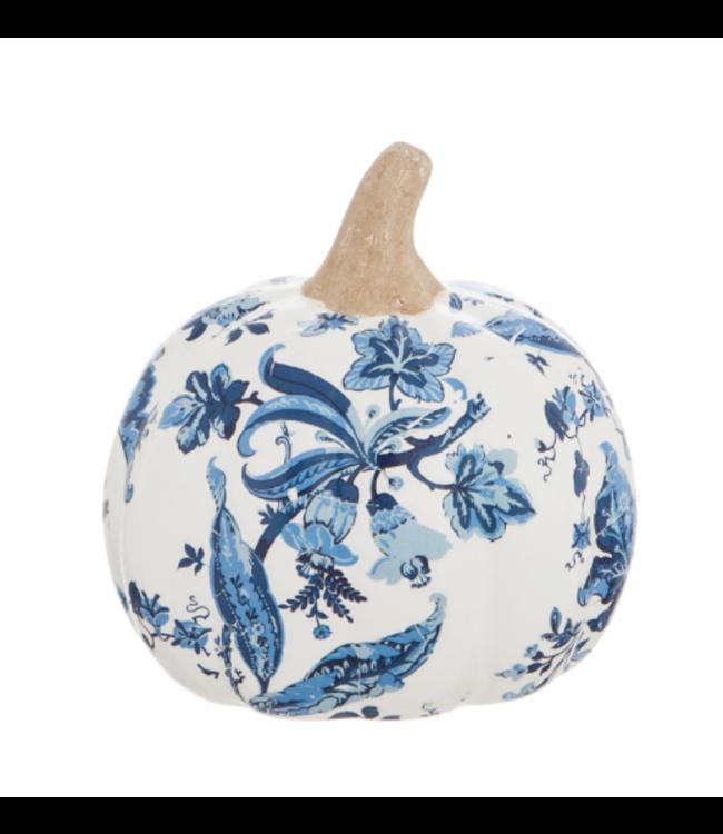 Evergreen Printed Ceramic Pumpkin Artisan Blue- Small
