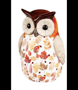 Evergreen Ceramic Fall Harvest Owl Garden Statuary- Large