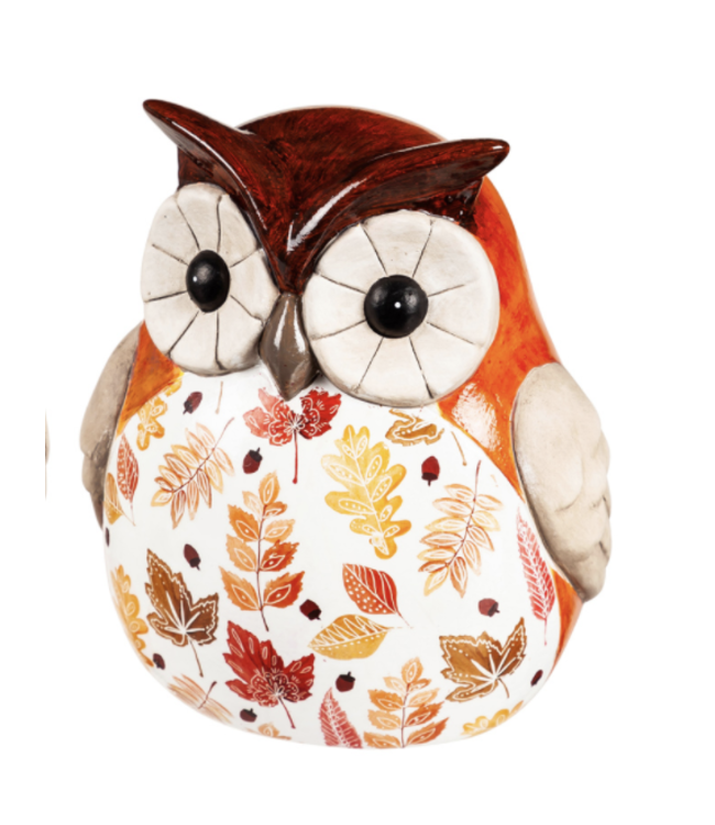 Evergreen Ceramic Fall Harvest Owl Garden Statuary- Small