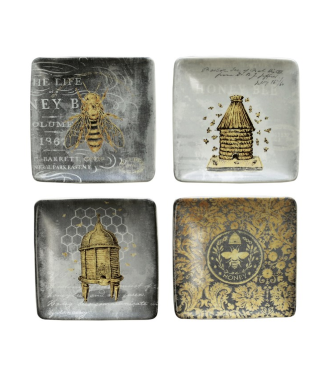 """Creative Co-Op 4"""" Square Stoneware Plate w/ Bees, 4 Styles"""