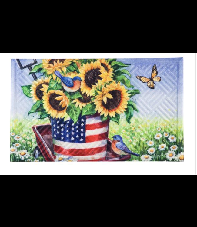 Evergreen Patriotic Sunflower Wagon Embossed Floor Mat
