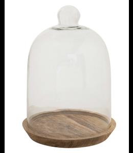 Creative Co-Op Glass Cloche with Mango Wood Base