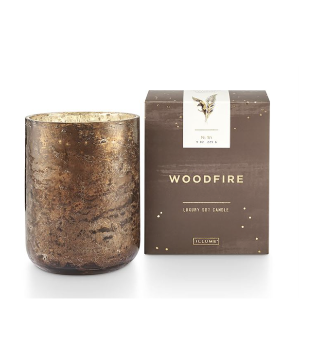 Illume Woodfire Small Luxe Sanded Mercury Glass Candle