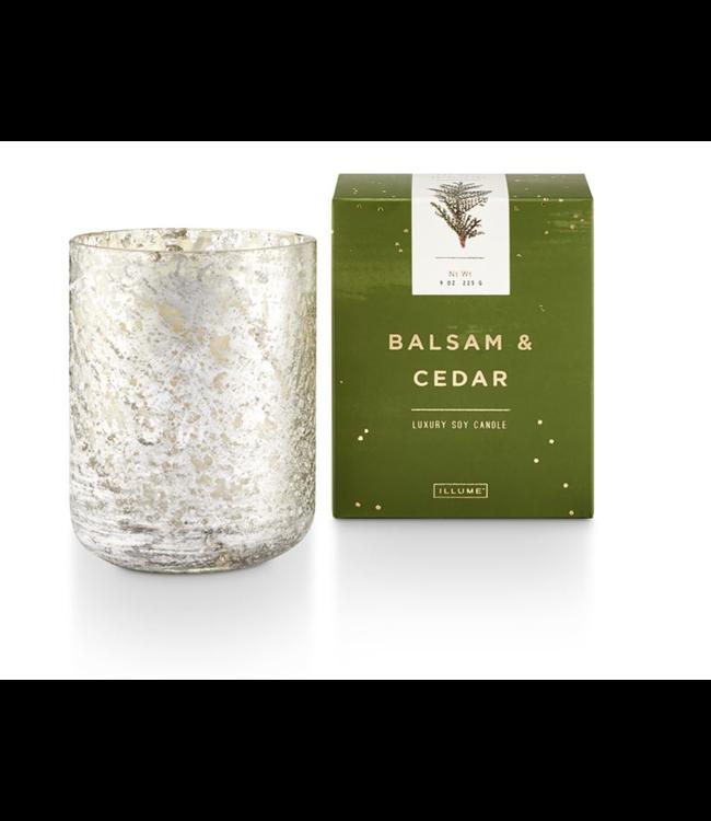 Illume Balsam & Cedar Small Luxe Sanded Mercury Glass Candle