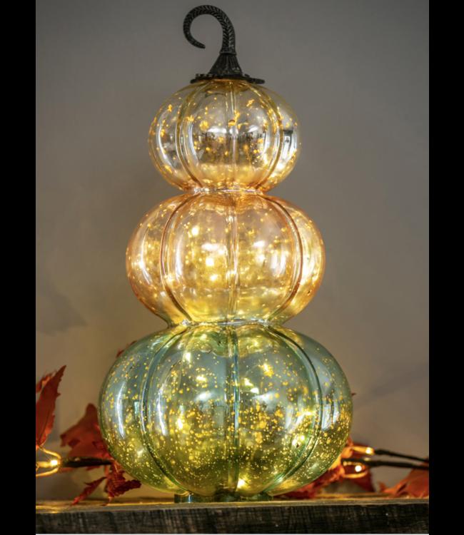 Evergreen Glass LED Stacked Pumpkin Decor