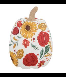 Evergreen Large  Printed Ceramic Pumpkin, Autumn Blooms