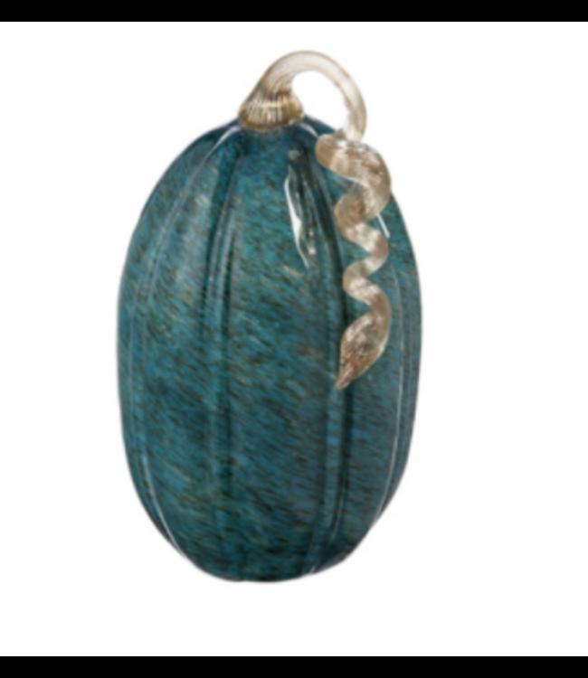 Evergreen Tall Teal Striped Glass Pumpkin