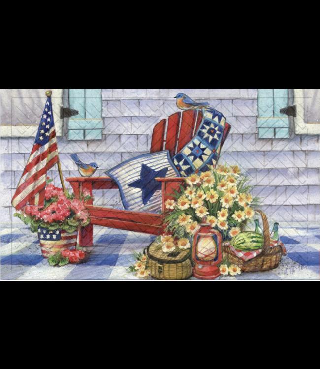 Evergreen Patriotic Porch Embossed Floor Mat