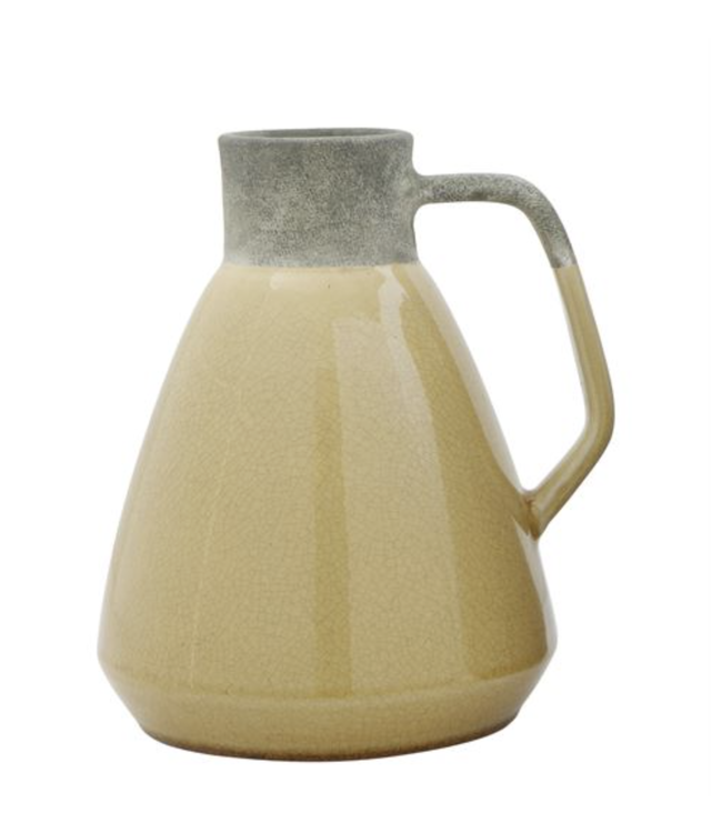 Bloomingville Yellow Decorative Terracotta Pitcher Shaped Vase