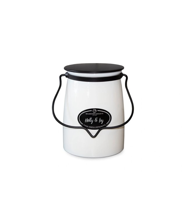 Milkhouse Candle Company Butter Jar 22 Oz: Holly & Ivy