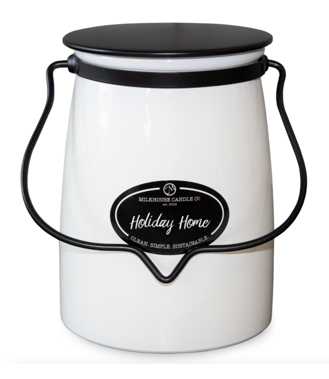 Milkhouse Candle Company Butter Jar 22 Oz: Holiday Home