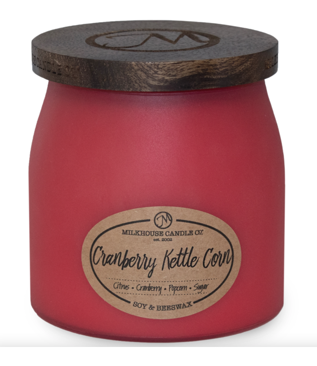 Milkhouse Candle Company Frosted Butter Jar 16 Oz: Cranberry Kettle Corn