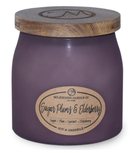 Milkhouse Candle Company Frosted Butter Jar 16 Oz: Sugar Plums & Elderberry