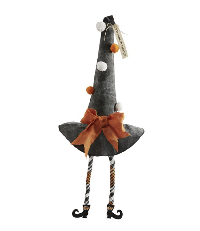 MudPie Gray Dangle Leg Witches Hat Sitter