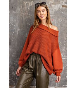 Easel Terry Knit Brick Sweater