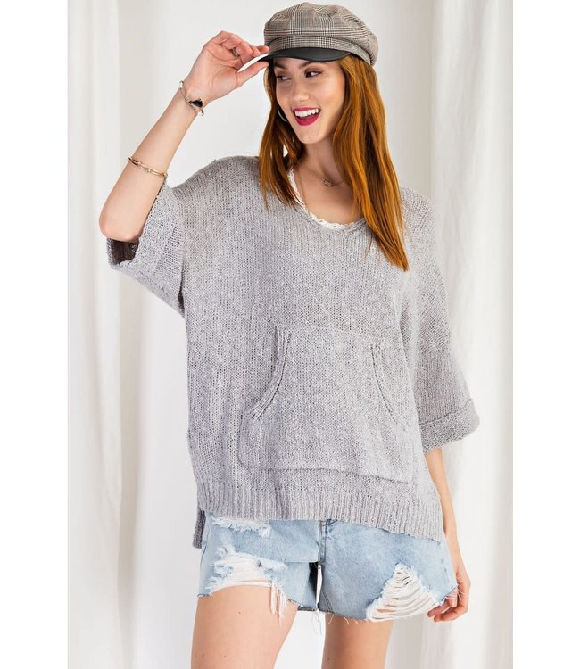 Easel Heather Gray Sweater W/ Front Pocket