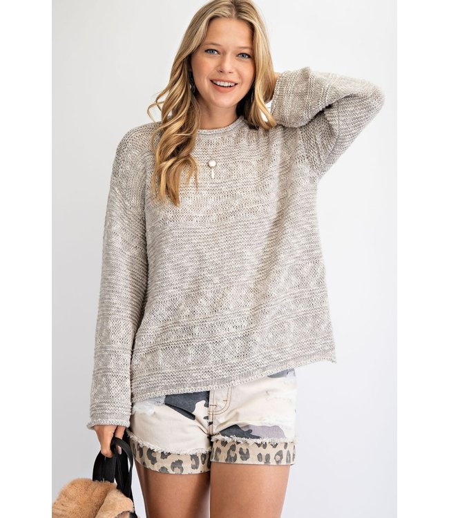Easel Heather Grey Knitted Sweater