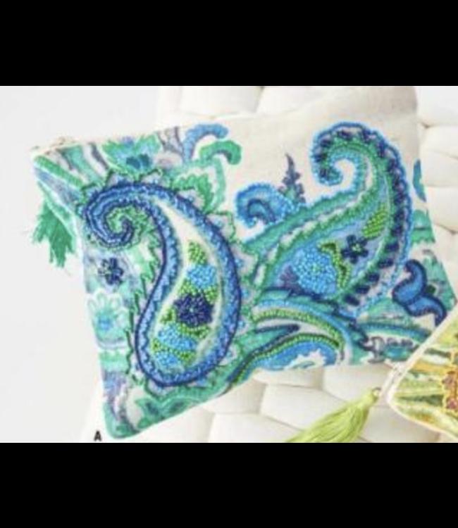 K&K Interiors Blue Beaded Paisley Cosmetic Bag