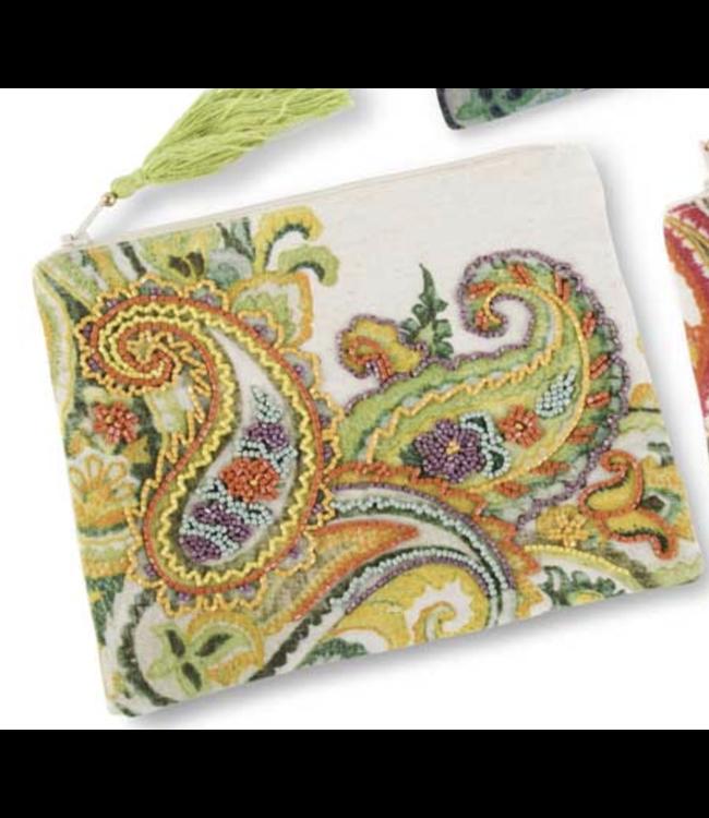 K&K Interiors Green Beaded Paisley Cosmetic Bag