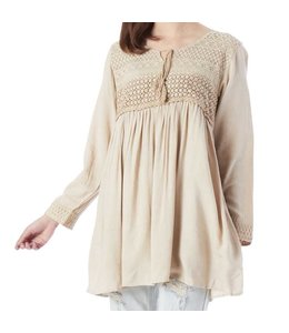 K&K Interiors Beige Tunic with Lace Yolk