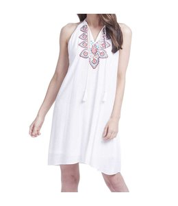 K&K Interiors White Mock Neck Tunic with Embroidery