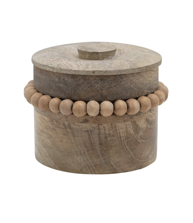 Creative Co-Op Mango Wood Box with Wood Beads & Lid, Natural