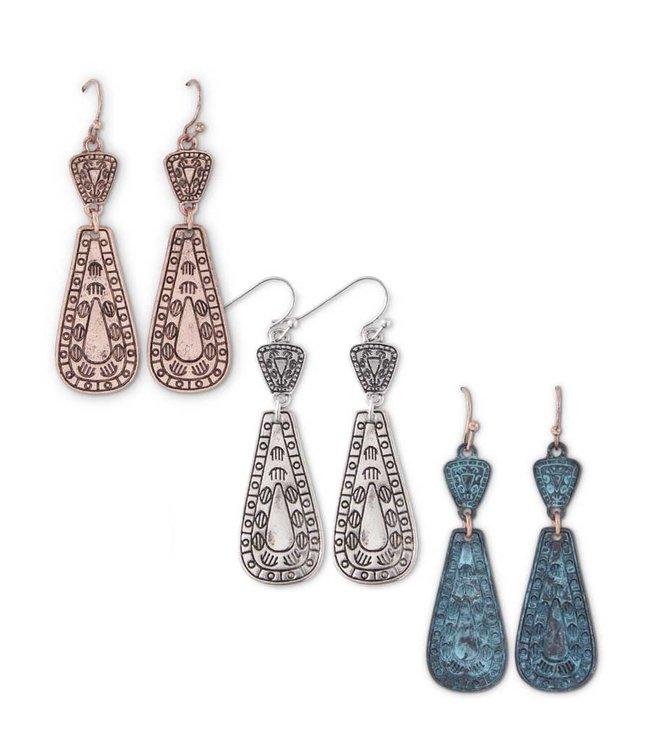 K&K Interiors Copper Aztec Pattern Earrings